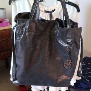 Michael Kors Gunmetal Leather shoulder bag EUC